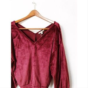 Express velvet double 'V' off the shoulder top nwt